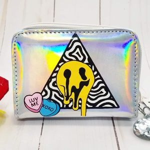 Holographic Trippy Valentine Wallet - Hand Painted